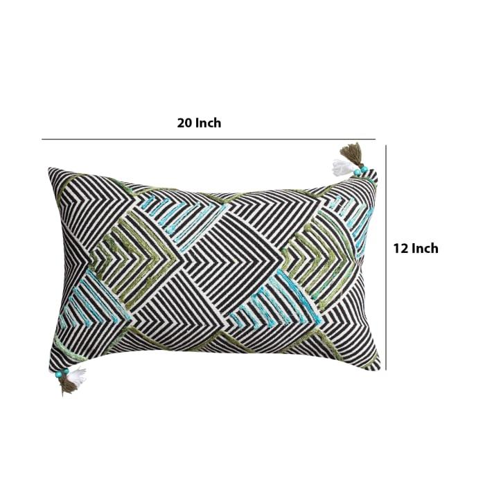 Handwoven Arrow Print Cotton Multicolor Accent Pillow