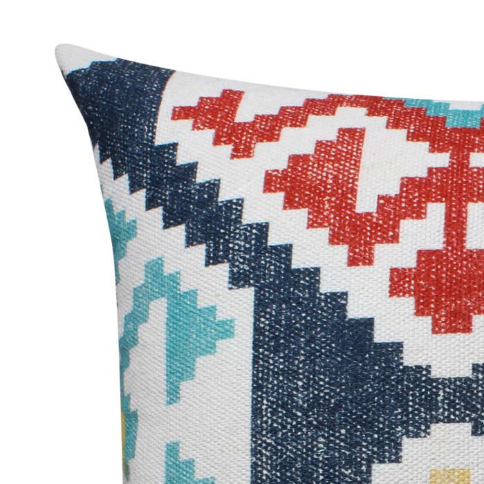 Kilim Printed Handwoven Cotton Multicolor Accent Pillow