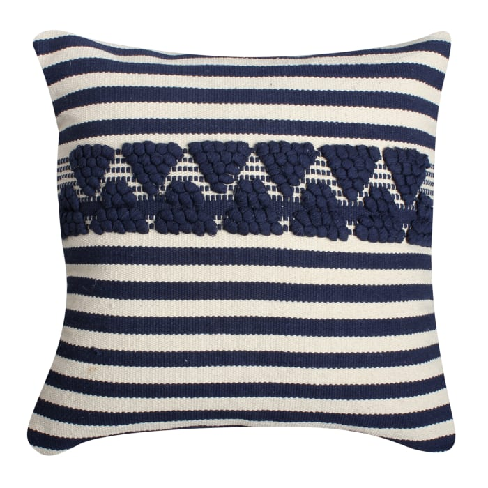 Textured with Stripe Print Cotton White and Blue Accent Pillow