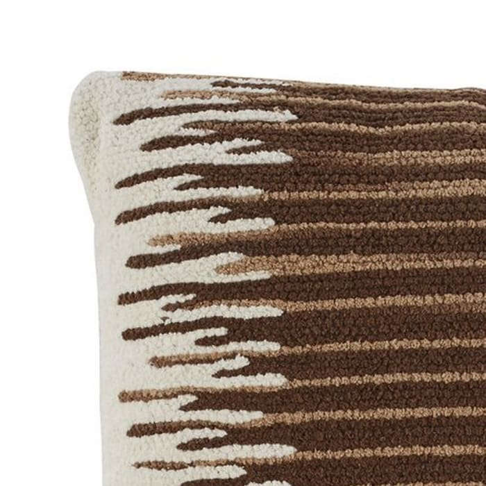 Nubby Texture Cotton Cream and Brown Set of 4 Accent Pillows