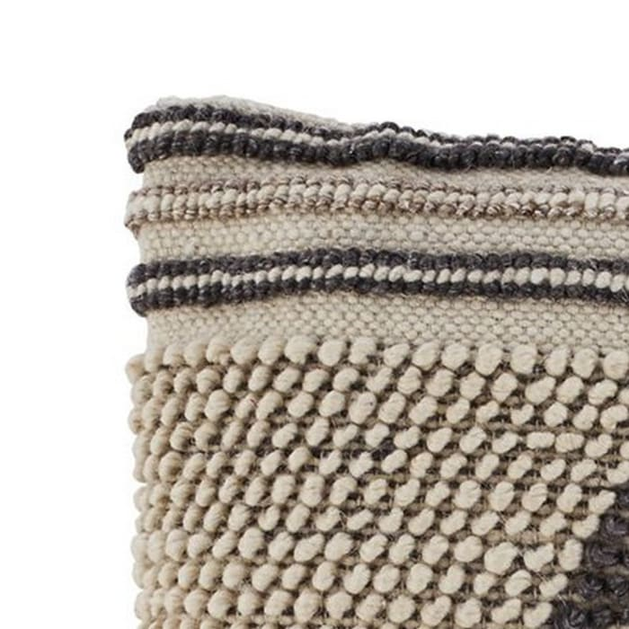 Beaded Texture Cotton Cream and Gray Set of 4 Accent Pillows