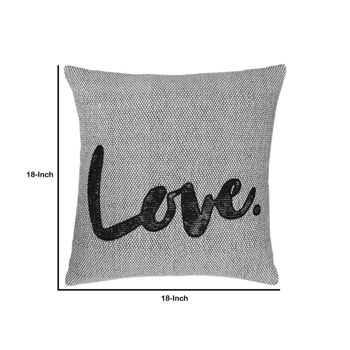 Love Typography Cotton Gray and Black Set of 4 Accent Pillows