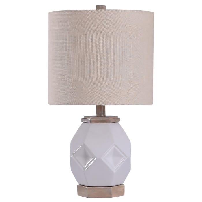 Luka Farmhouse Ceramic White Glass Accent Lamp