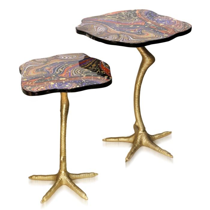 Galaxia Enamel and Bird Feet Set of 2 Side Tables