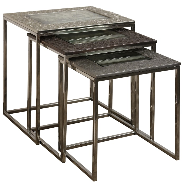Logan Bronze Finish Set of 3 Nested Accent Tables
