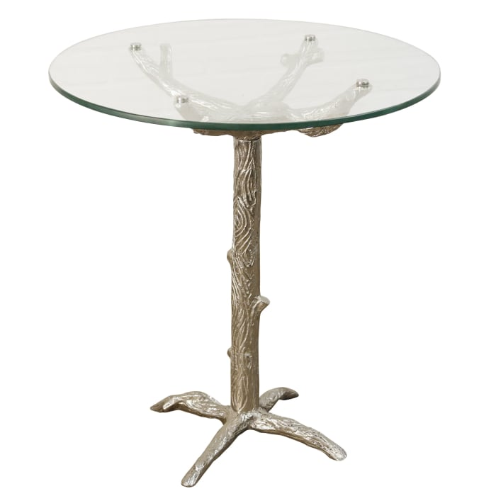 Galaxia Silver Finish Aluminum Tree Accent Side Table
