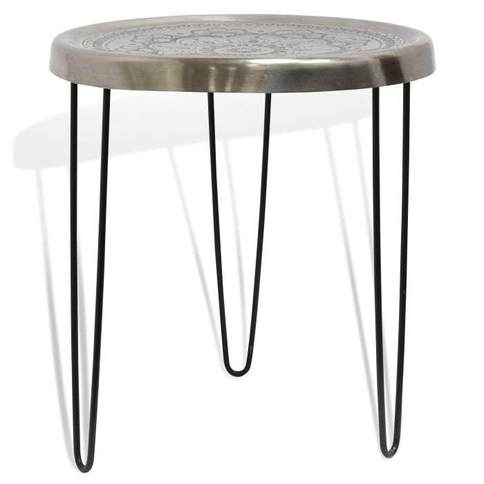 Logan Silver and Black Finish Hairpin Leg Accent Table
