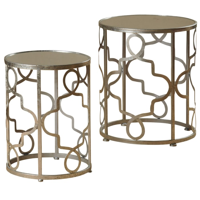 Silver Finish Set of 2 Nested Accent Tables