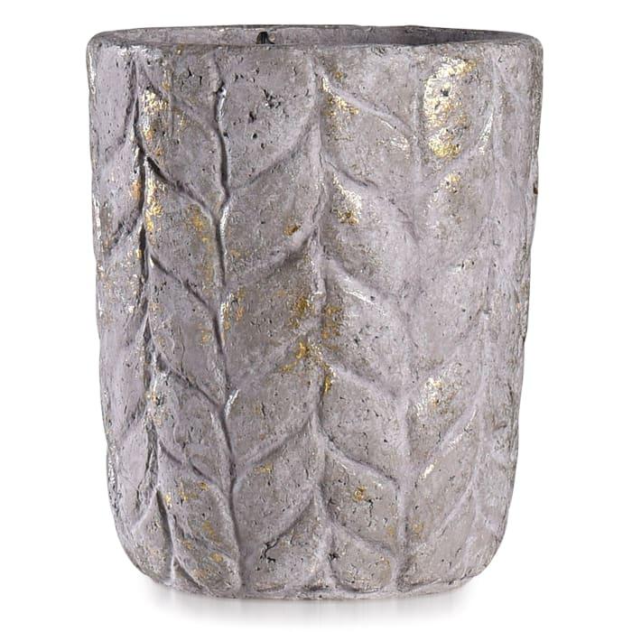 Alcamn Grey Leaf Textured Eco Paper Pot