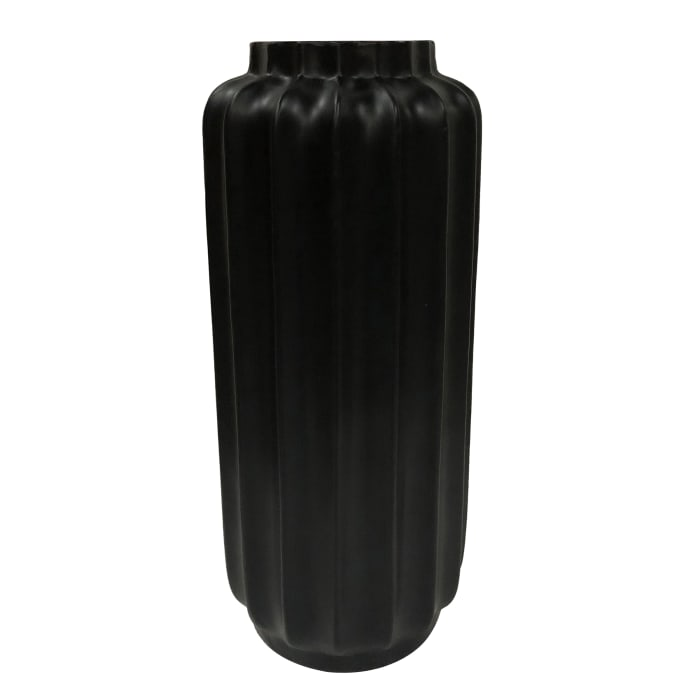 Bari Matte Black Resin Large Floor Vase