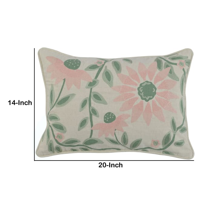 Pink Floral Pattern Accent Throw Pillow