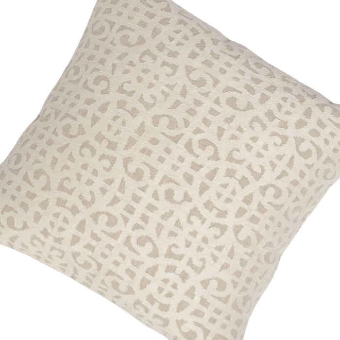 Cream Hand Embroidered Throw Pillow