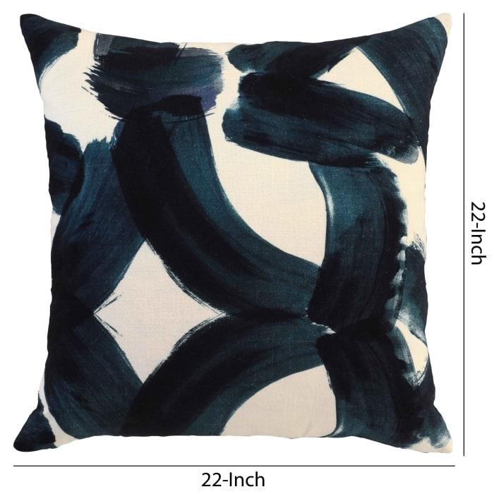 Blue & White Brush Stroke Print Throw Pillow