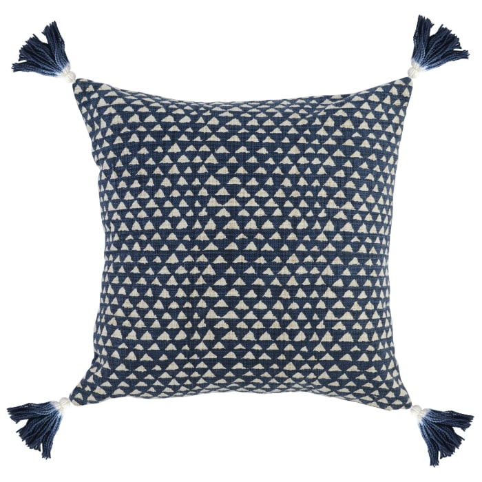 Blue & White Geo Pattern Throw Pillow