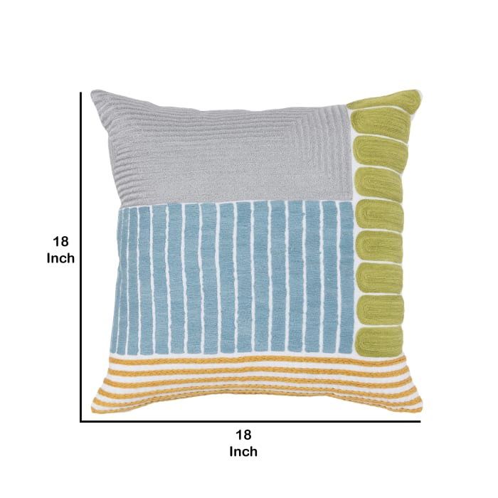Embroidered Geometric Pattern Fabric Multicolor Throw Pillow