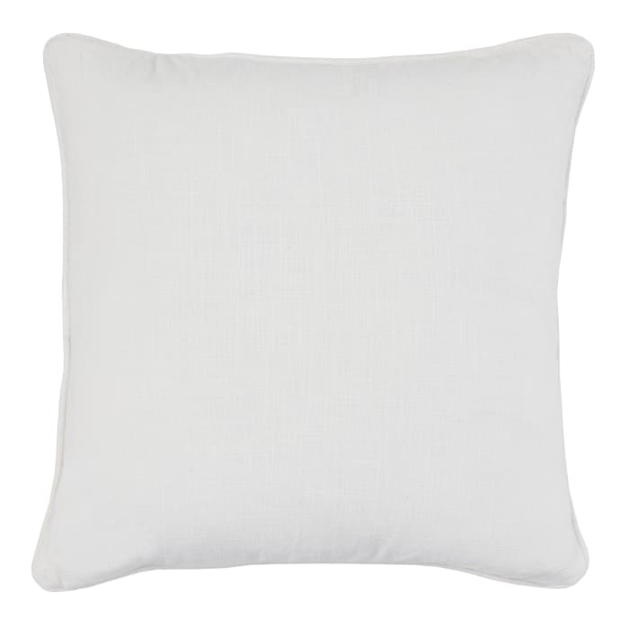 Textured Stripes Pattern and Piping Fabric Off White Throw Pillow