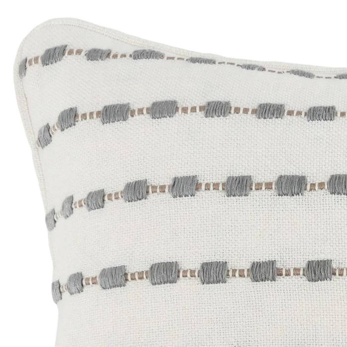 Embroidered Fabric Square White and Gray Throw Pillow