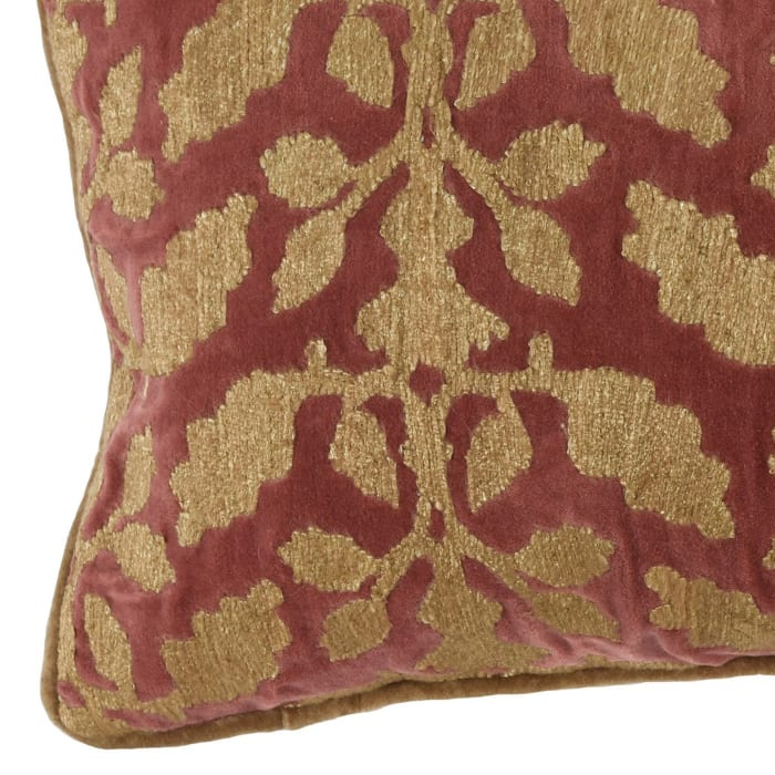Embroidered Floral Pattern Fabric Rectangular Red and Beige Pillow