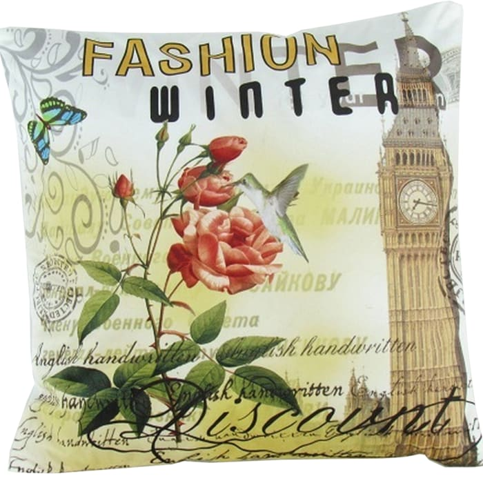 Scripted Details Fabric Multicolor Accent Pillow