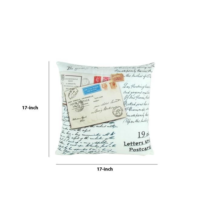 Postcard Prints Fabric White Decorative Pillow