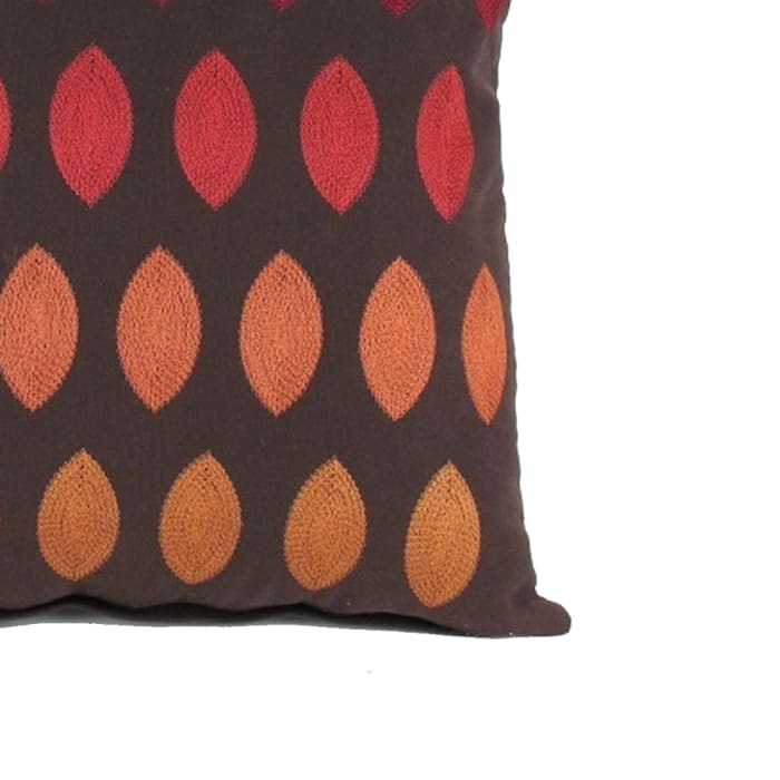 Embroidery Fabric Brown and Red Accent Pillow