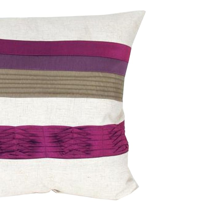 Piping Work Fabric White and Purple Accent Pillow