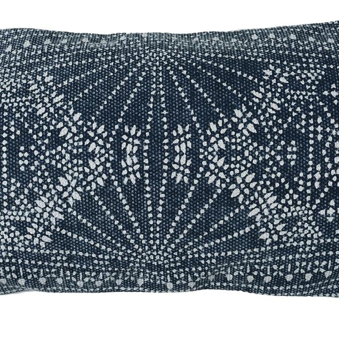 Batik Print Blue and White Accent Pillow