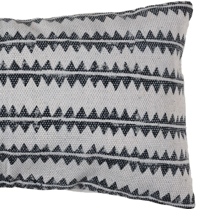 Sawtooth Stripe Gray and White Accent Pillow