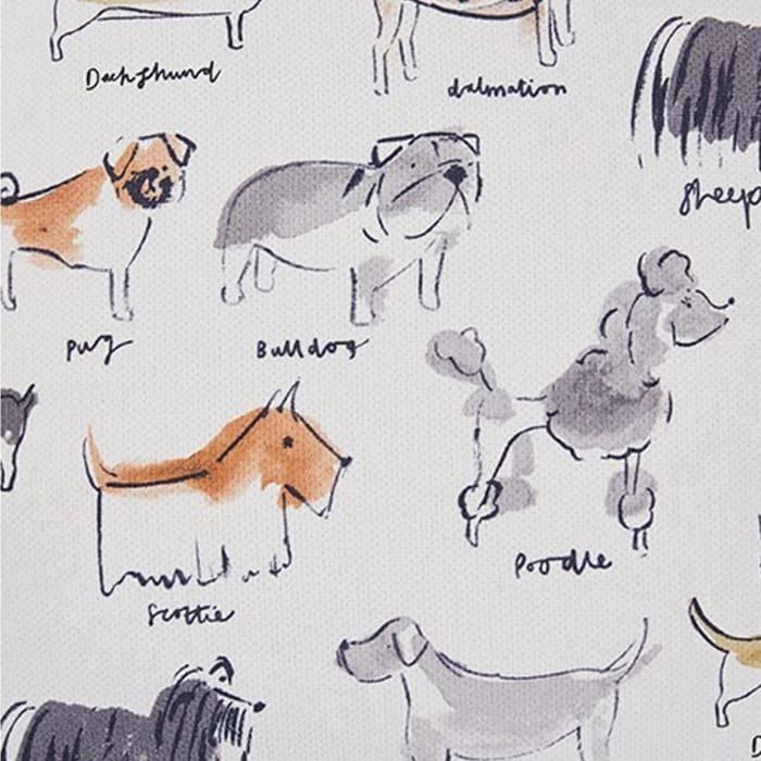 Dog Animal Print Fabric Cream 4-Piece Accent Pillow