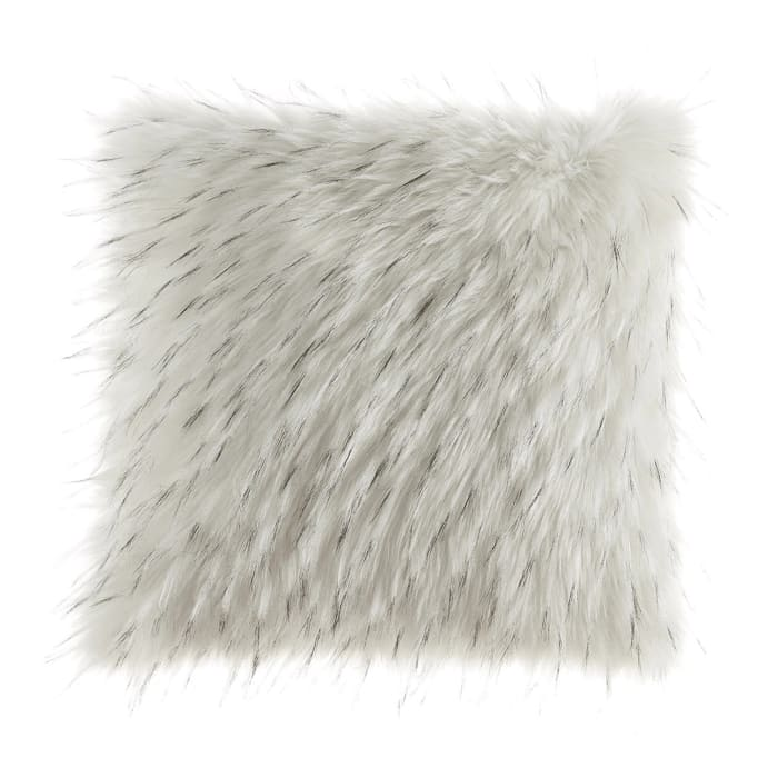 Fabric with Faux Fur Accents Set of 4  White Pillows