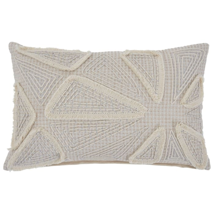 Geometric Embroidered Cream Set of 4 Accent Pillows
