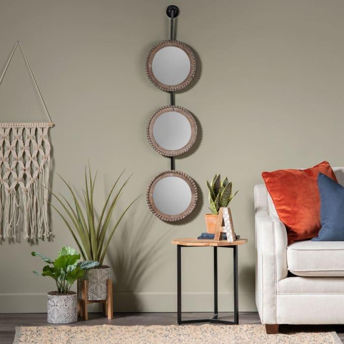 Eisley Trio Beaded Wood Accent Mirror