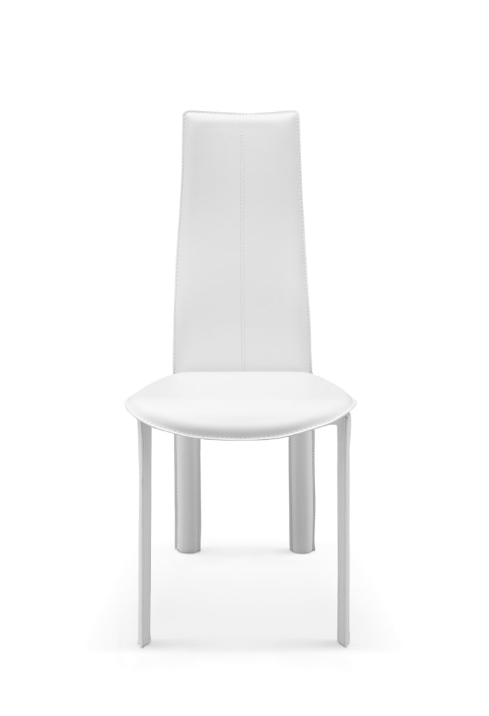 Modern Dining White Faux Leather Set of 4 Dining Chairs