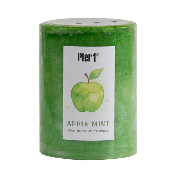Pier 1 Apple Mint 3x4 Mottled Pillar Candle