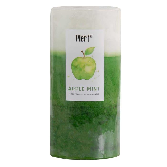 Pier 1 Apple Mint 3x6 Layered Pillar Candle