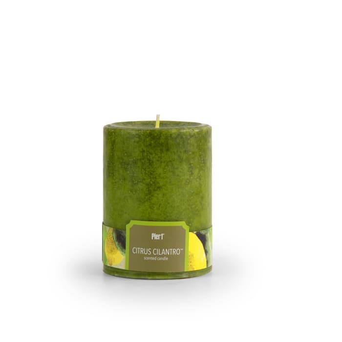Pier 1 Citrus Cilantro® Mottled 3x4 Pillar Candle