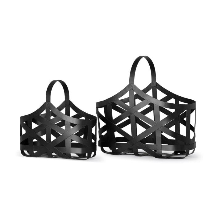 Tyrell  Black Iron Set of 2  Metal Baskets