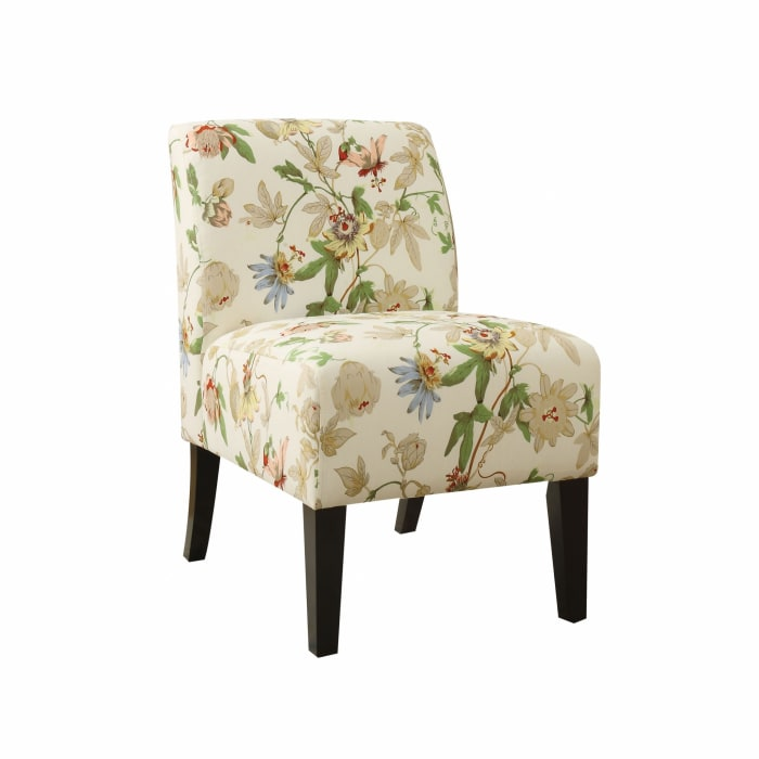 Floral Fabric Slipper Accent Chair