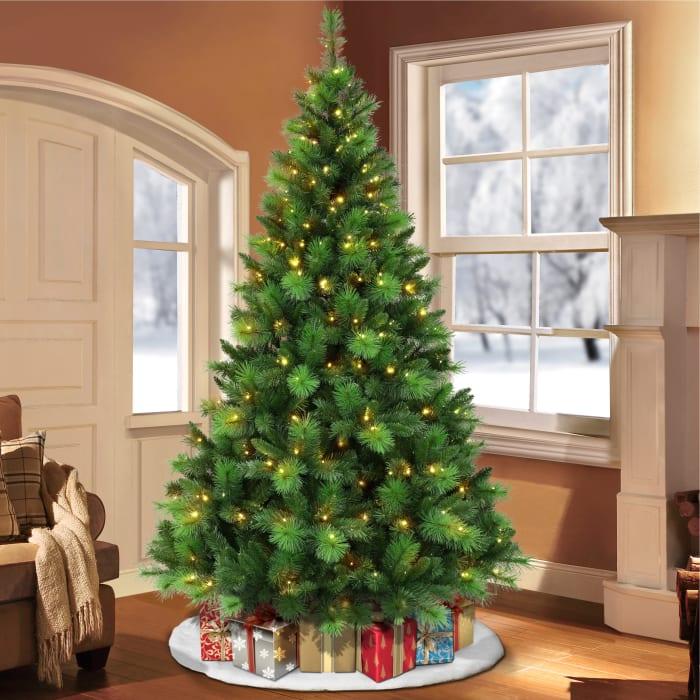 Archibald Pre-Lit 7.5' 300 Color-Select LED Lights Green Adirondack Artificial Christmas Tree