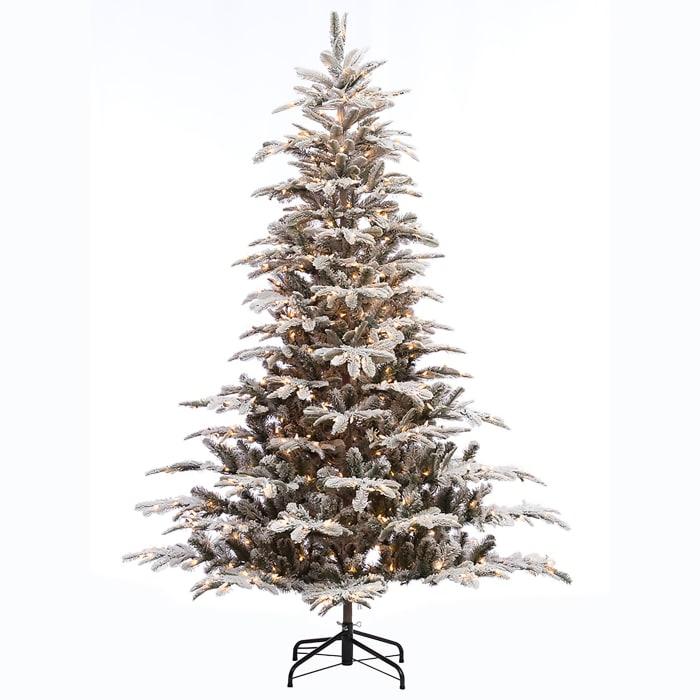 Augustine Pre-Lit 6.5' 500 Lights Green Flocked Aspen Fir Artificial Christmas Tree