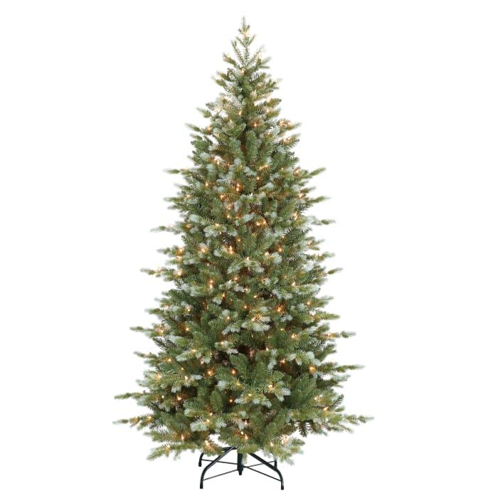 Natalia Pre-Lit 6.5' Blue and Green Slim Colorado Blue Spruce Artificial Christmas Tree