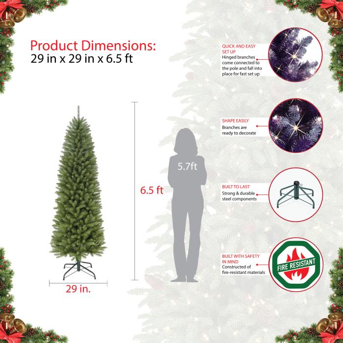 6.5' Green Pencil Fraser Fir Artificial Christmas Tree