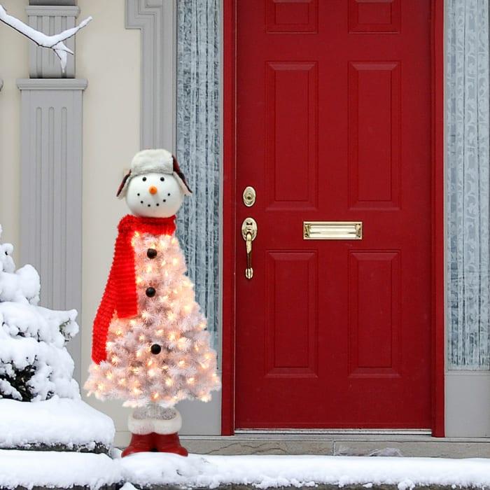 Tabitha Pre-Lit 4' 100 Lights White Snowman Artificial Christmas Tree