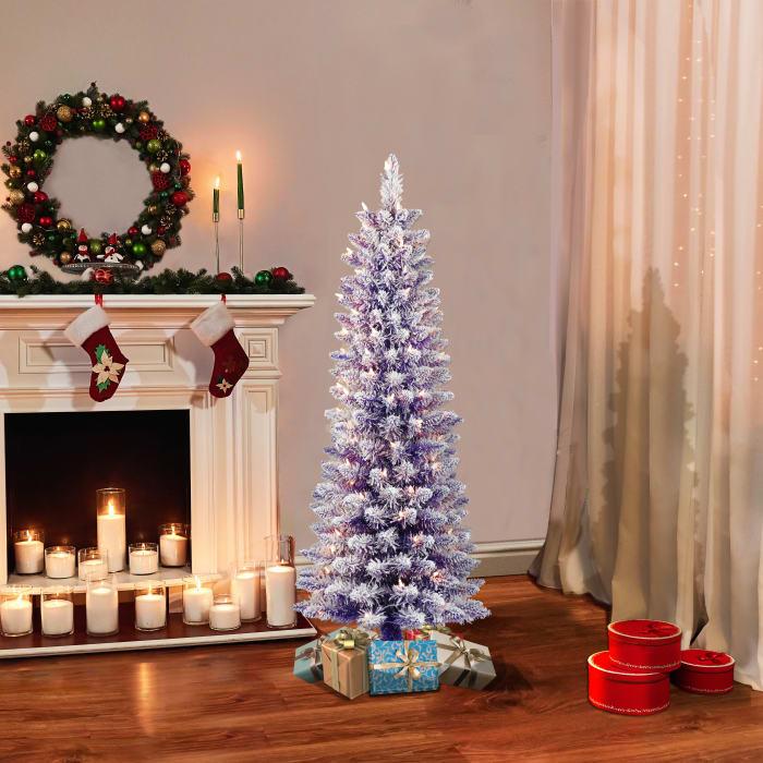 Margot Pre-Lit 4.5' 100 Lights Purple Flocked  Fashion Purple Pencil Artificial Christmas Tree