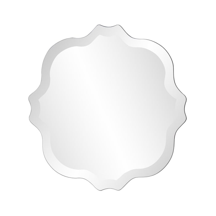 Frame-less with Scallop Edges Square Mirror