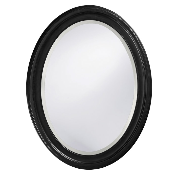 Oval Shaped Black Wood Frame Mirror