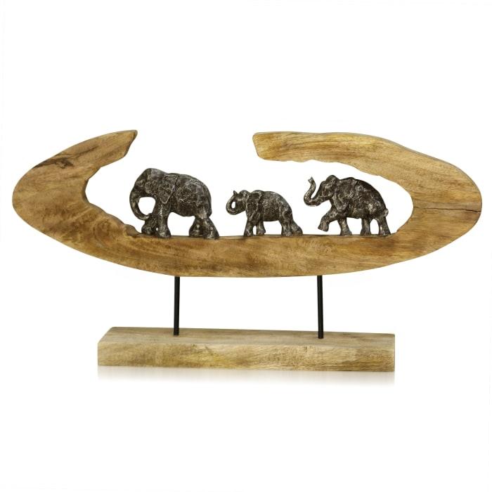 Elephant Generations II Natural Carved Wood Elephant Figures