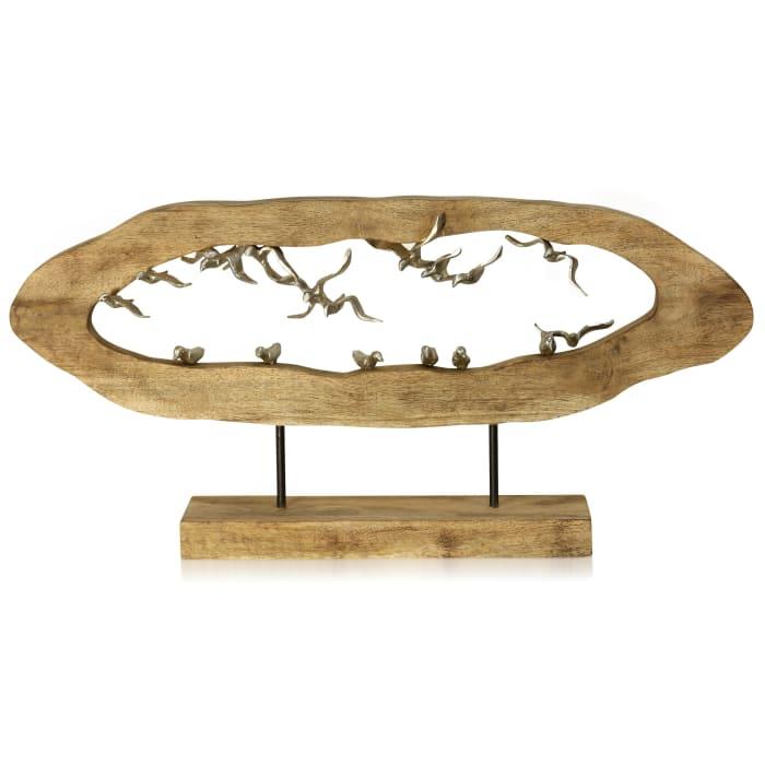 Gull Crevasse Natural Carved Wood Birds Figurine