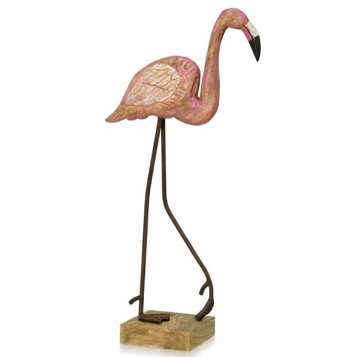 Flamingo Stroll Natural Wood Painted Sculpture