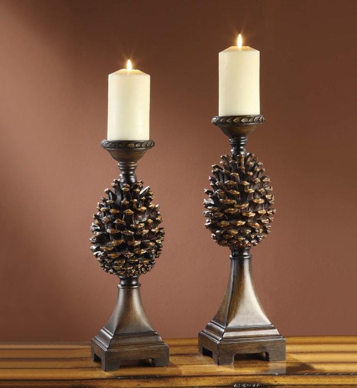 Ilana Resin Pine Cone Set of 2 Candlesticks